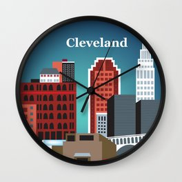 Cleveland, Ohio - Skyline Illustration by Loose Petals Wall Clock