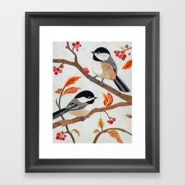 Autumn Chickadees Framed Art Print