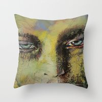 shiva Throw Pillows featuring Shiva by Michael Creese