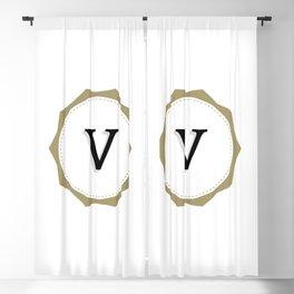 Vintage Letter V Monogram Blackout Curtain