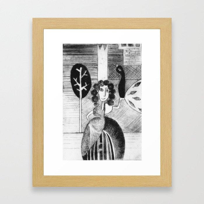 Princess and peacock Framed Art Print