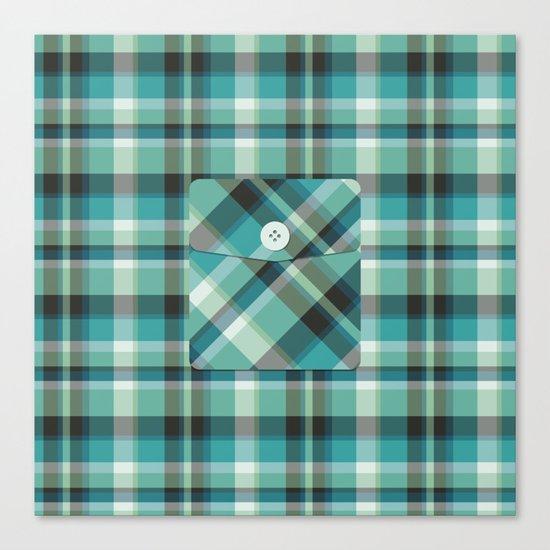 Plaid Pocket - Teal Blue/Green Canvas Print