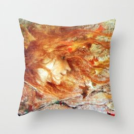 A Gust of Autumn Wind portrait painting by Lucien Levy Dhurmer Throw Pillow