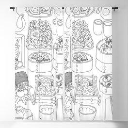 Sunday Dim Sum - Line Art Blackout Curtain