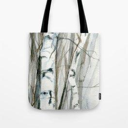 Winter Birch Trees Woodland Watercolor Original Art Print Tote Bag