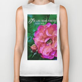 Fuchsia Flower With Raindrops Biker Tank