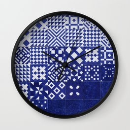 tile blue background Wall Clock