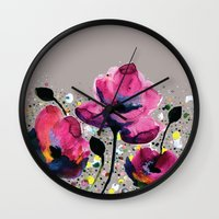 poppies Wall Clocks featuring Poppies by Michelle Nilson