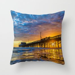 Low Angle Sunset at Newport Pier. Throw Pillow