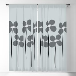 Cool Flowers on Blue Blackout Curtain