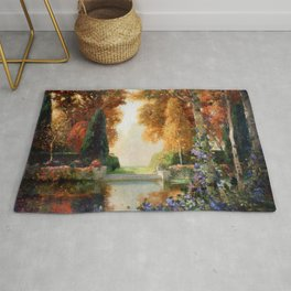 Silver and Gold - Luxuriant Autumn Garden by Thomas Mostyn Rug