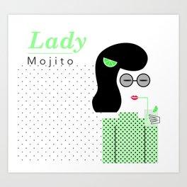 Lady Mojito Art Print
