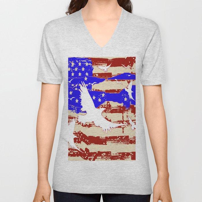 AMERICANA FLAG & WHITE EAGLES FROM  SOCIETY6 BY SHARLESART. Unisex V-Neck