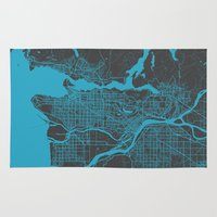vancouver Area & Throw Rugs featuring Vancouver Map by Map Map Maps