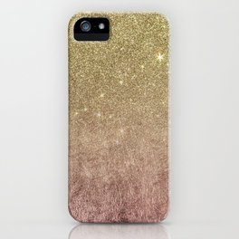 Gold Glitter and Pink Rose Gold Foil Mesh iPhone Case