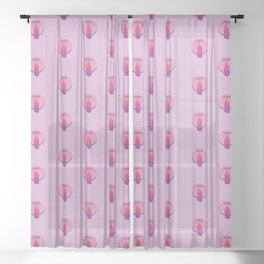 Pinkish purple crystal for harmony Sheer Curtain