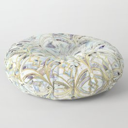 Pale Bright Mint and Sage Art Deco Marbling Floor Pillow