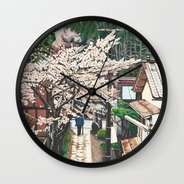 Passing by Cherry Blossoms Wall Clock