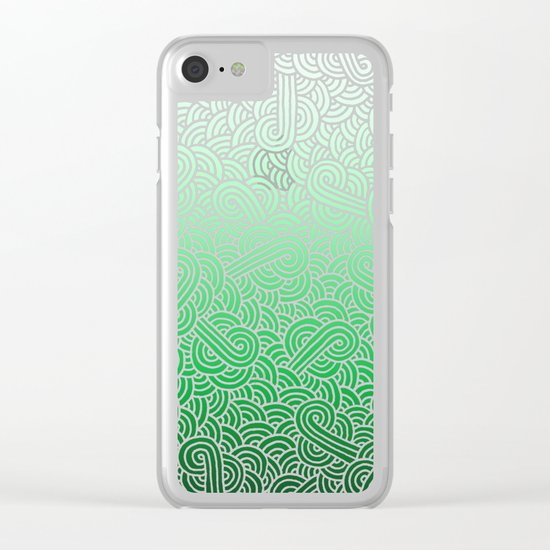 Ombre green and white swirls doodles Clear iPhone Case