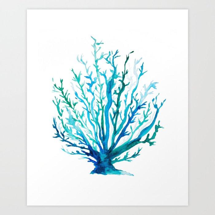 Watercolor Blue + Green Coral Art Print by prettysweetlife ...