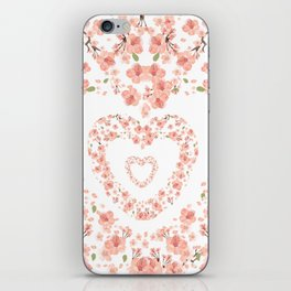 Modern coral pink watercolor valentine's hearts floral iPhone Skin