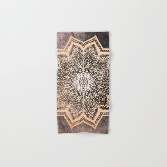GOLD EARTH FLOWER MANDALA Hand & Bath Towel