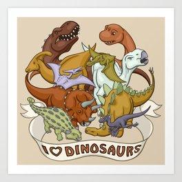 I Heart Dinosaurs Art Print