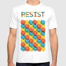 Resist White Mens Fitted Tee MEDIUM