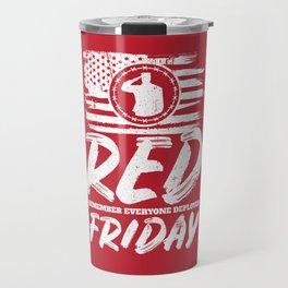 Remember Deployed Red Friday USA Soldier Travel Mug