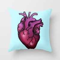 anatomical heart Throw Pillows featuring Anatomical Heart by Hungry Designs