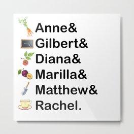 Anne of Green Gables Names Metal Print