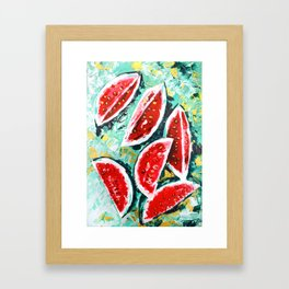 watermelon acrylic art Framed Art Print