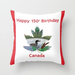 Happy 150th Birthday Canada Throw Pillow