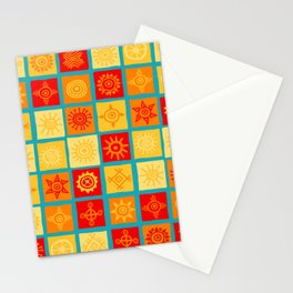 Sun symbols on squares seamless background Stationery Cards