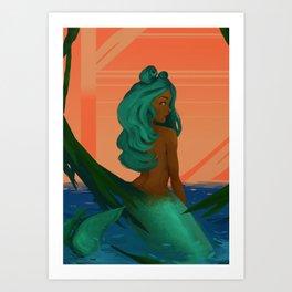 Peeking Mermaid Art Print