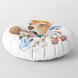 A child deer and squirrel at the summer festival Floor Pillow