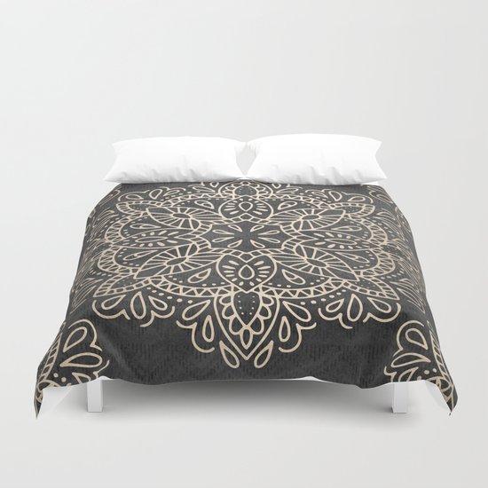 mandala white gold on dark gray duvet cover by nature magick society6. Black Bedroom Furniture Sets. Home Design Ideas