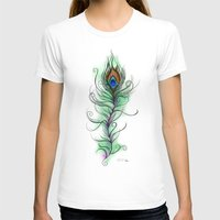 peacock feather T-shirts featuring Peacock Feather by Vicky Ink.