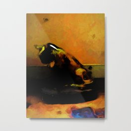 Orange Cat and a Gold Wall Metal Print