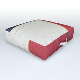 Blue, Red And White With Golden Lines Abstract Painting Outdoor Floor Cushion