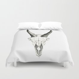 Mountain Goat Skull Duvet Cover