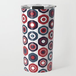 Buttons Cute Geometric Pattern in Red White and Blue Travel Mug
