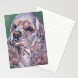 American Cocker Spaniel dog art portrait from an original painting by L.A.Shepard Stationery Cards