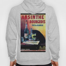 Marque Deposee Bad Cat Drinking Absinthe Bourgeois Lithograph Wall Art Hoody