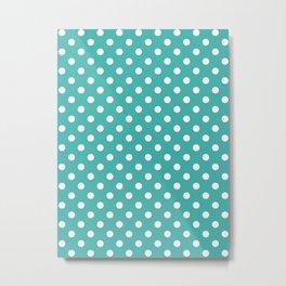 Small Polka Dots - White on Verdigris Metal Print