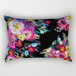 Colorful Floral Painting on Black Canvas. Rectangular Pillow
