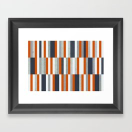 Orange, Navy Blue, Gray / Grey Stripes, Abstract Nautical Maritime Design by Framed Art Print
