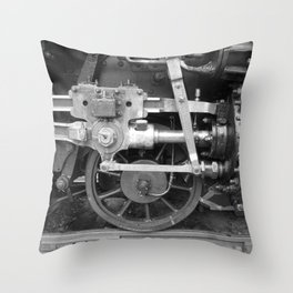 Old steam locomotive in the depot ZUG006CBx Le France black and white fine art photography by Ksavera Throw Pillow