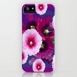 PURPLE PINK HOLLYHOCKS MODERN ART iPhone Case