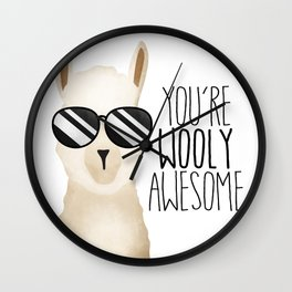 You're Wooly Awesome - Llama Wall Clock